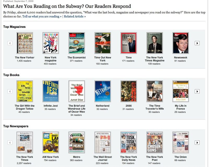 What Are You Reading on the Subway? Our Readers Respond - Graphic - NYTimes.com (20090907)